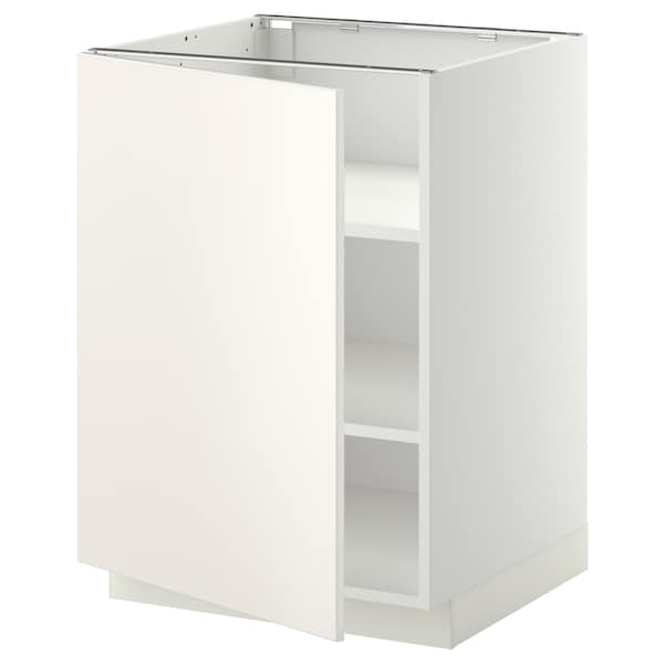 METOD Base cabinet with shelves, white/Veddinge white, 60x60 cm