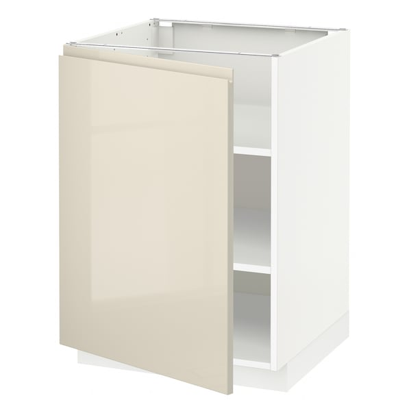 METOD Base cabinet with shelves, white/Voxtorp high-gloss light beige, 60x60 cm