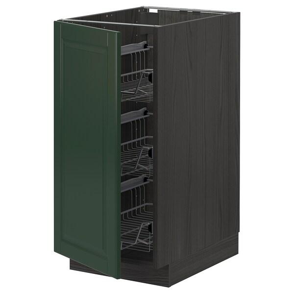 METOD Base cabinet with wire baskets, black/Bodbyn dark green, 40x60 cm