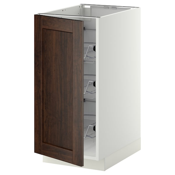 METOD Base cabinet with wire baskets, white/Edserum brown, 40x60 cm