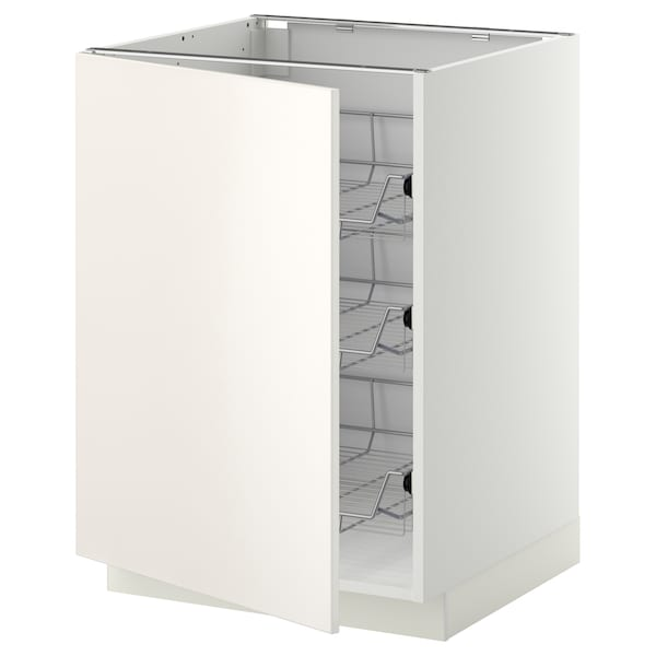 METOD Base cabinet with wire baskets, white/Veddinge white, 60x60 cm