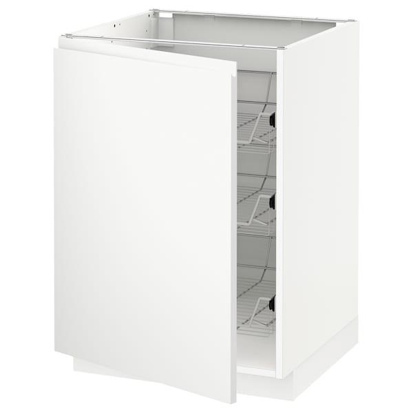 METOD base cabinet with wire baskets white/Voxtorp matt white 60.0 cm 62.1 cm 88.0 cm 60.0 cm 80.0 cm