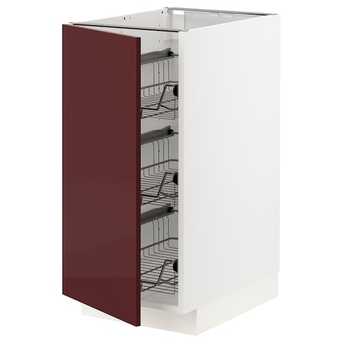 METOD base cabinet with wire baskets white Kallarp/high-gloss dark red-brown 40.0 cm 61.6 cm 88.0 cm 60.0 cm 80.0 cm