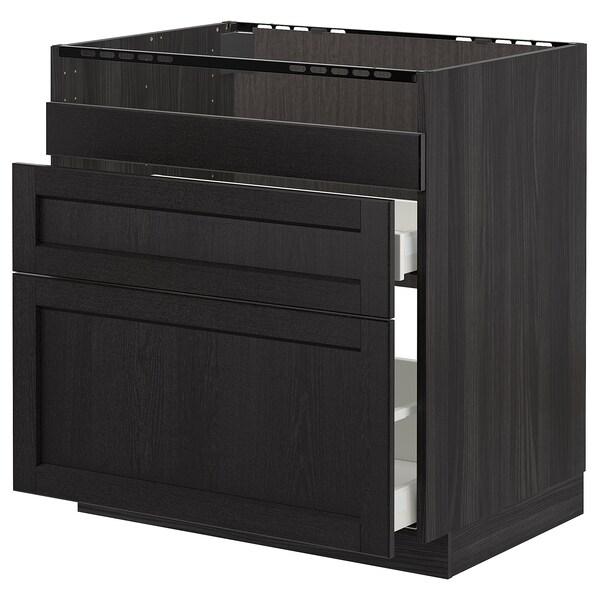METOD قاعدة HAVSEN مع حوض/3 واجهات/درجين, أسود/Lerhyttan صباغ أسود, 80x60 سم