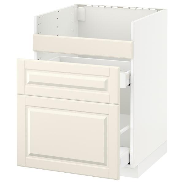 METOD Base cb f HAVSEN snk/3 frnts/2 drws, white/Bodbyn off-white, 60x60 cm