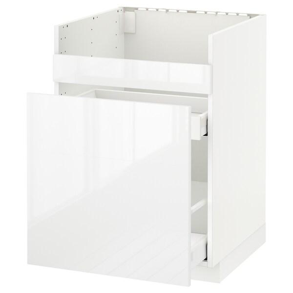METOD قاعدة HAVSEN مع حوض/3 واجهات/درجين, أبيض Maximera/Ringhult أبيض, 60x60 سم
