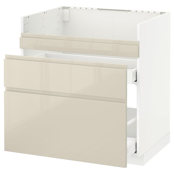 METOD قاعدة HAVSEN مع حوض/3 واجهات/درجين, أبيض Maximera/Voxtorp بيج فاتح لامع, 80x60 سم