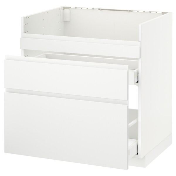 METOD Base cb f HAVSEN snk/3 frnts/2 drws, white Maximera/Voxtorp matt white, 80x60 cm