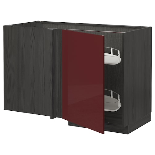METOD corner base cab w pull-out fitting black Kallarp/high-gloss dark red-brown 127.5 cm 67.5 cm 88.0 cm 80.0 cm