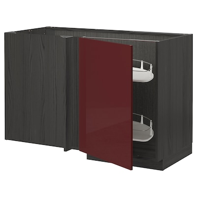 METOD خزانة قاعدة ركنية مع سحب للخارج, أسود Kallarp/لامع أحمر-بني غامق, 128x68 سم