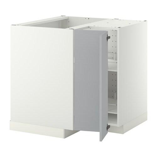 metod corner base cabinet with carousel - white, tingsryd wood ... - Ikea Küche Eckschrank Karussell