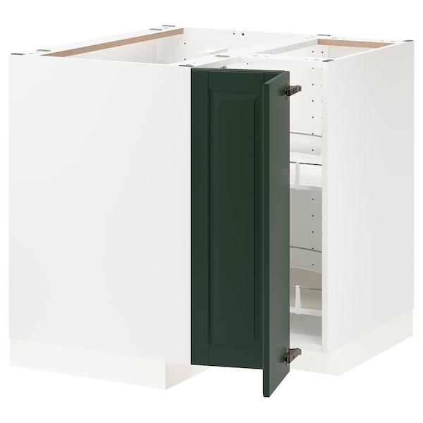 METOD corner base cabinet with carousel white/Bodbyn dark green 87.5 cm 88.0 cm 87.5 cm 80.0 cm