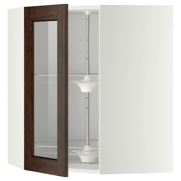 METOD Corner wall cab w carousel/glass dr, white/Edserum brown, 68x80 cm