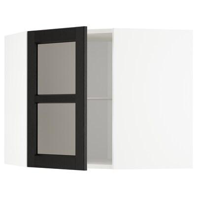 METOD خ. حائط زاوية+أرفف/ب. زجاجي, أبيض/Lerhyttan صباغ أسود, 68x60 سم