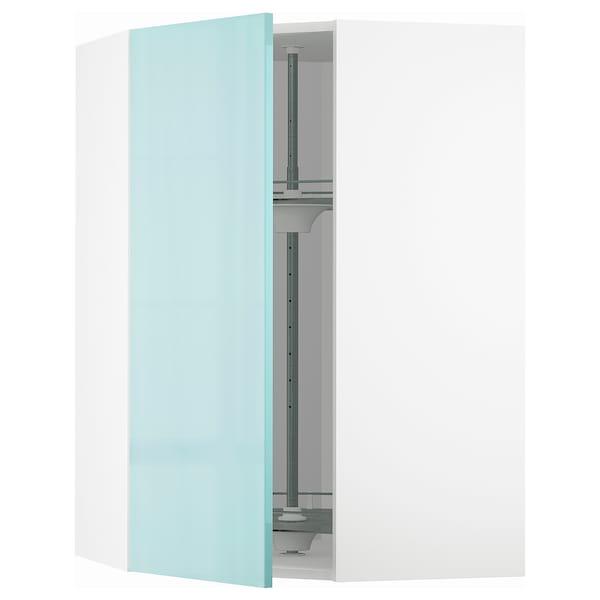 METOD Corner wall cabinet with carousel, white Järsta/high-gloss light turquoise, 68x100 cm