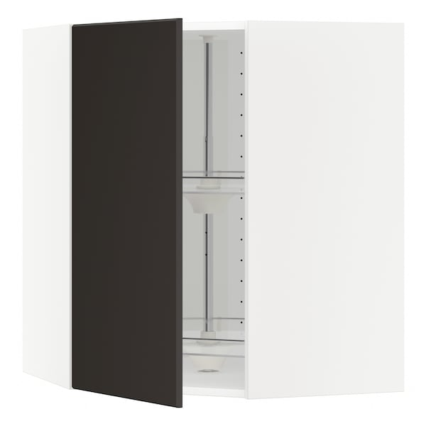 METOD Corner wall cabinet with carousel, white/Kungsbacka anthracite, 68x80 cm