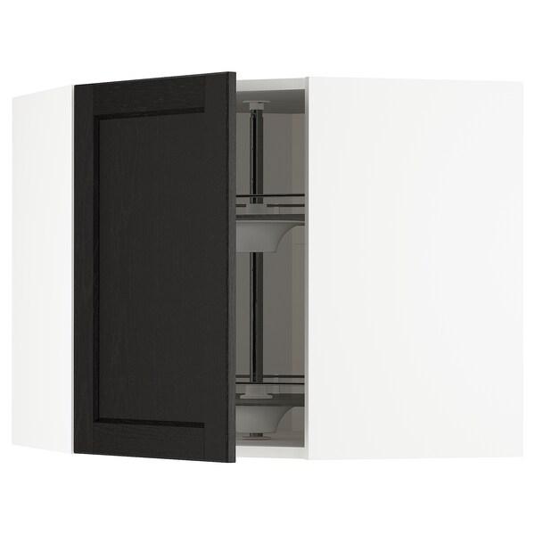 METOD خزانة حائط ركنية مع درج دوار, أبيض/Lerhyttan صباغ أسود, 68x60 سم