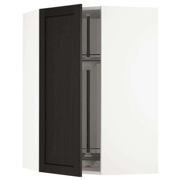 METOD Corner wall cabinet with carousel, white/Lerhyttan black stained, 68x100 cm