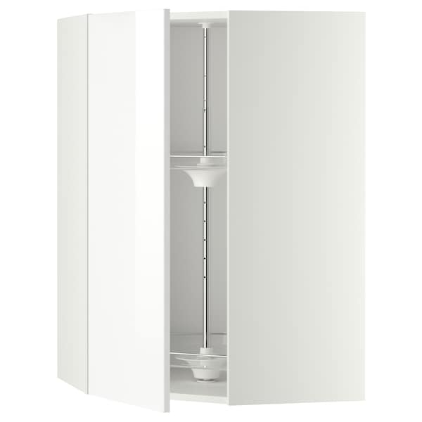 METOD Corner wall cabinet with carousel, white/Ringhult white, 68x100 cm