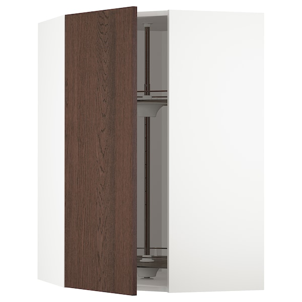 METOD Corner wall cabinet with carousel, white/Sinarp brown, 68x100 cm