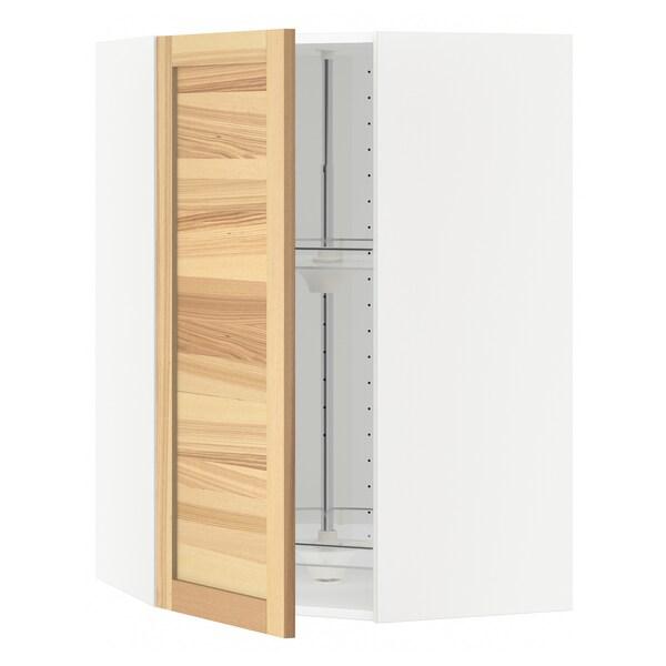 METOD Corner wall cabinet with carousel, white/Torhamn ash, 68x100 cm