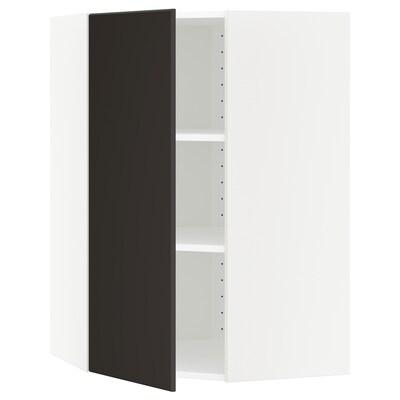 METOD خزانة حائط زاوية مع أرفف, أبيض/Kungsbacka فحمي, 68x100 سم