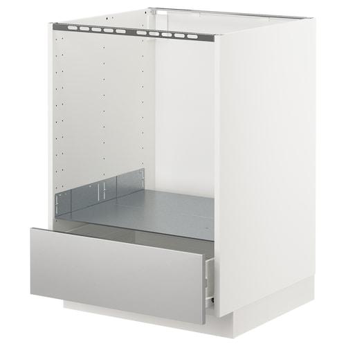 METOD / FÖRVARA base cabinet for oven with drawer white/Grevsta stainless steel 60.0 cm 61.6 cm 88.0 cm 60.0 cm 80.0 cm