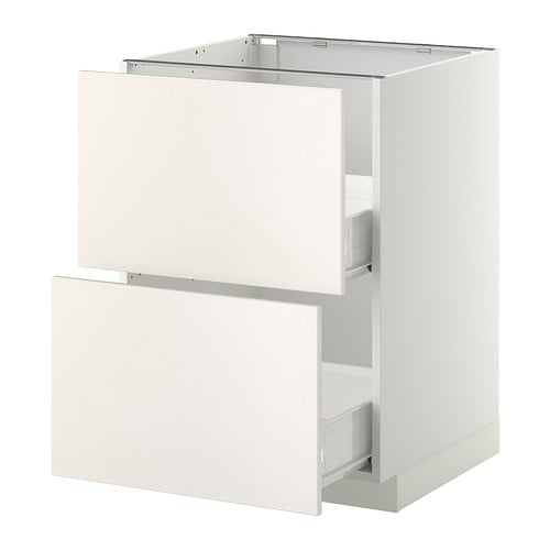 METOD/FÖRVARA Base cab 2 fronts/2 medium drwrs   Smooth-running drawer with drawer stop.  Sturdy frame construction, 18 mm thick.