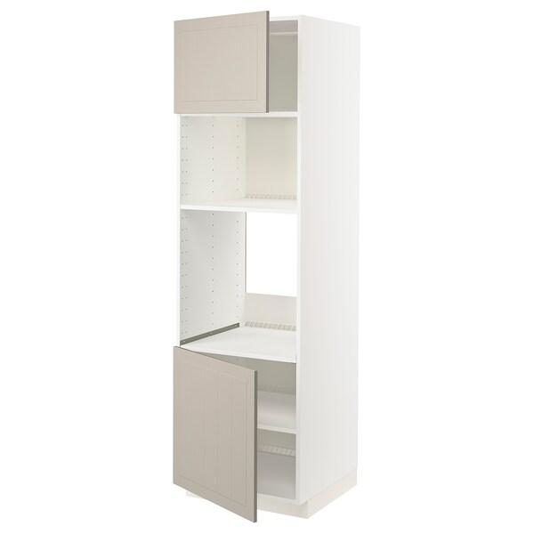 METOD خزانة عالية لفرن/ميكرويف بابين/أرفف, أبيض/Stensund بيج, 60x60x200 سم