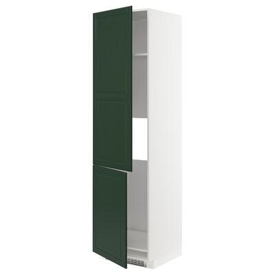 METOD High cab f fridge/freezer w 2 doors, white/Bodbyn dark green, 60x60x220 cm