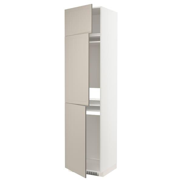 METOD خزانة مرتفعة ثلاجة/فريزر مع 3 أبواب, أبيض/Stensund بيج, 60x60x240 سم