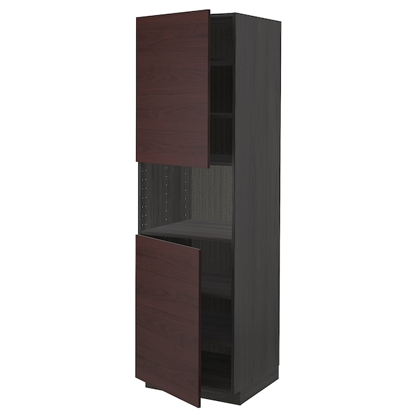 METOD High cab f micro w 2 doors/shelves, black Askersund/dark brown ash effect, 60x60x200 cm