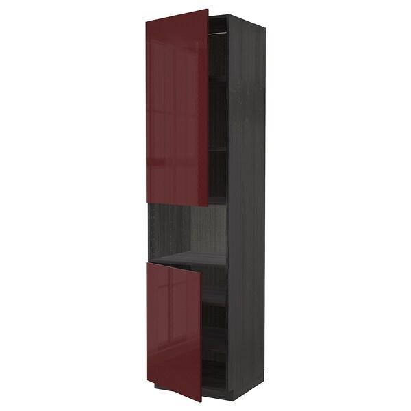 METOD High cab f micro w 2 doors/shelves, black Kallarp/high-gloss dark red-brown, 60x60x240 cm