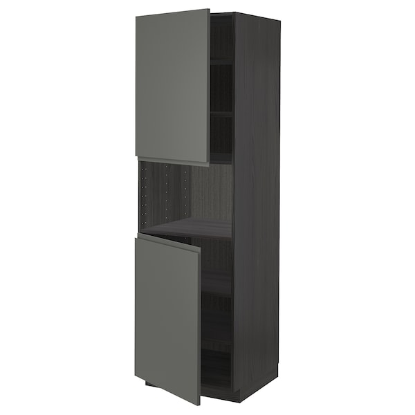 METOD high cab f micro w 2 doors/shelves black/Voxtorp dark grey 60.0 cm 62.1 cm 208.0 cm 60.0 cm 200.0 cm