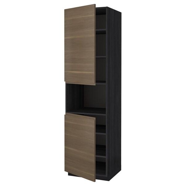 METOD High cab f micro w 2 doors/shelves, black/Voxtorp walnut effect, 60x60x220 cm