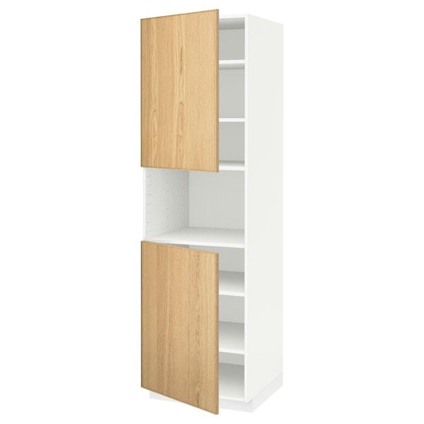METOD high cab f micro w 2 doors/shelves white/Ekestad oak 60.0 cm 61.9 cm 208.0 cm 60.0 cm 200.0 cm