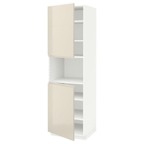 METOD high cab f micro w 2 doors/shelves white/Voxtorp high-gloss light beige 60.0 cm 62.1 cm 208.0 cm 60.0 cm 200.0 cm