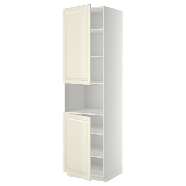 METOD high cab f micro w 2 doors/shelves white/Bodbyn off-white 60.0 cm 61.9 cm 228.0 cm 60.0 cm 220.0 cm