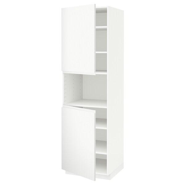 METOD high cab f micro w 2 doors/shelves white/Voxtorp matt white 60.0 cm 62.1 cm 208.0 cm 60.0 cm 200.0 cm