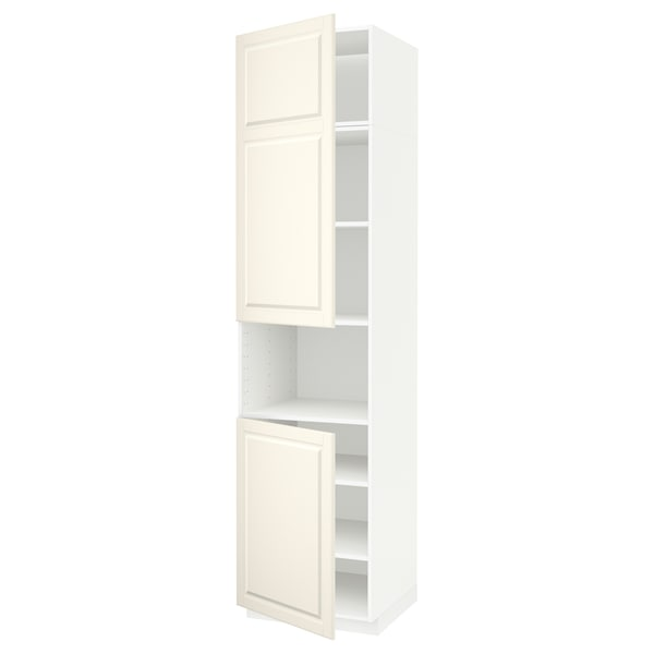 METOD high cab f micro w 2 doors/shelves white/Bodbyn off-white 60.0 cm 61.9 cm 248.0 cm 60.0 cm 240.0 cm