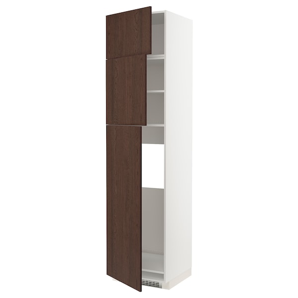 METOD High cab for fridge with 3 doors, white/Sinarp brown, 60x60x240 cm