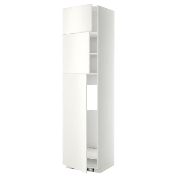 METOD High cab for fridge with 3 doors, white/Veddinge white, 60x60x240 cm