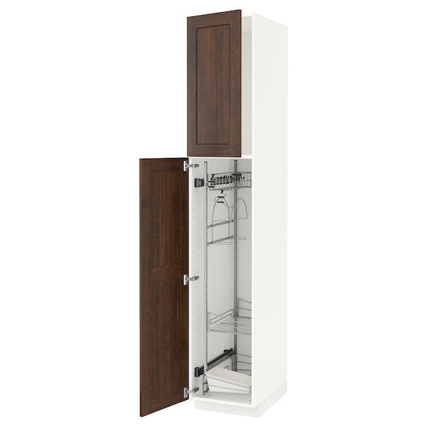 METOD High cabinet with cleaning interior, white/Edserum brown, 40x60x220 cm