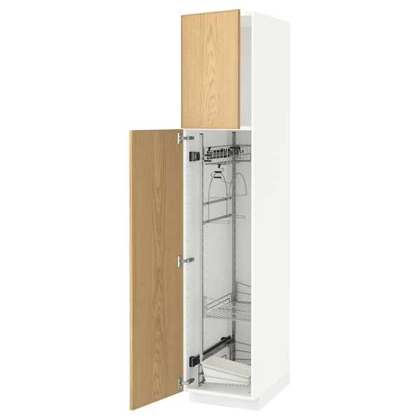 METOD High cabinet with cleaning interior, white/Ekestad oak, 40x60x200 cm