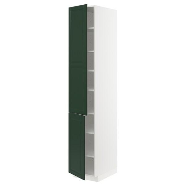 METOD خزانة مرتفعة مع أرفف/بابين, أبيض/Bodbyn أخضر غامق, 40x60x220 سم