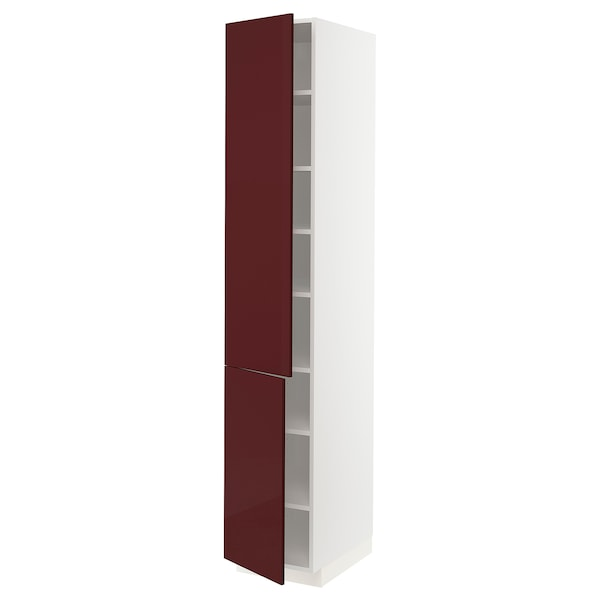 METOD خزانة مرتفعة مع أرفف/2 باب, أبيض Kallarp/لامع أحمر-بني غامق, 40x60x220 سم