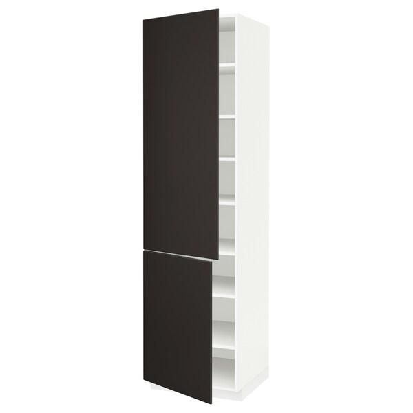 METOD خزانة مرتفعة مع أرفف/بابين, أبيض/Kungsbacka فحمي, 60x60x220 سم