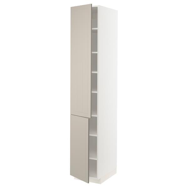 METOD خزانة مرتفعة مع أرفف/بابين, أبيض/Stensund بيج, 40x60x220 سم