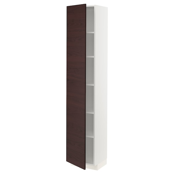METOD High cabinet with shelves, white Askersund/dark brown ash effect, 40x37x200 cm