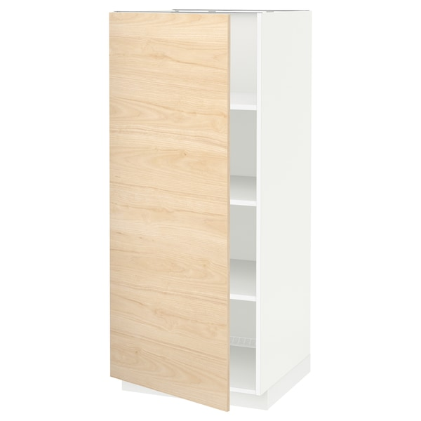 METOD High cabinet with shelves, white/Askersund light ash effect, 60x60x140 cm